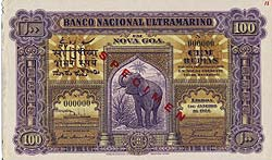 041312 5 Portuguese India Banco Nacional Ultramarino Specimen Notes
