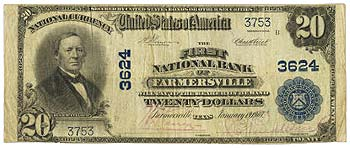 Farmersville, TX - $20 1902 Plain Back Fr. 653 The First NB Ch. # 3624
