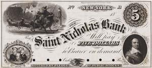 New York, NY- Saint Nicholas Bank $5 Haxby UNL Proof